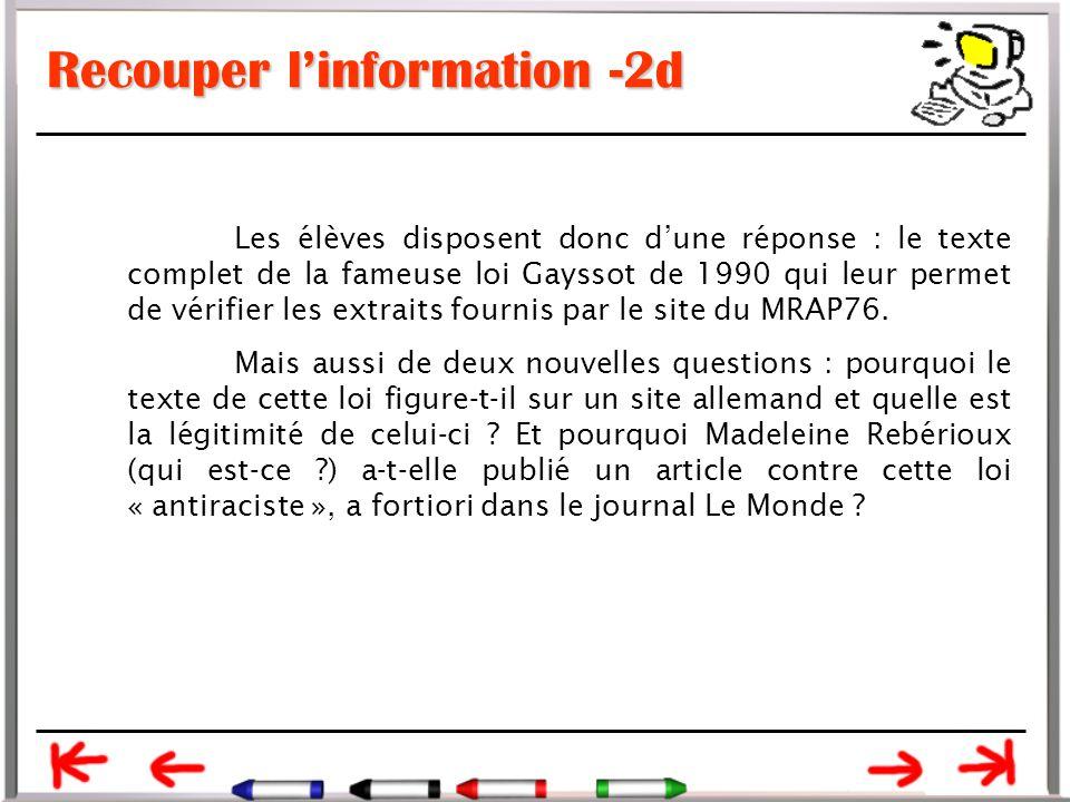 Recouper l'information -2d