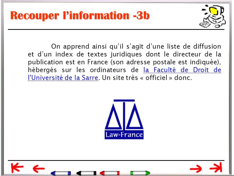 Recouper l'information -3b