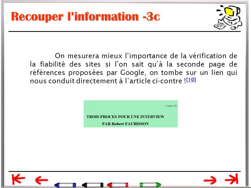 Recouper l'information -3c