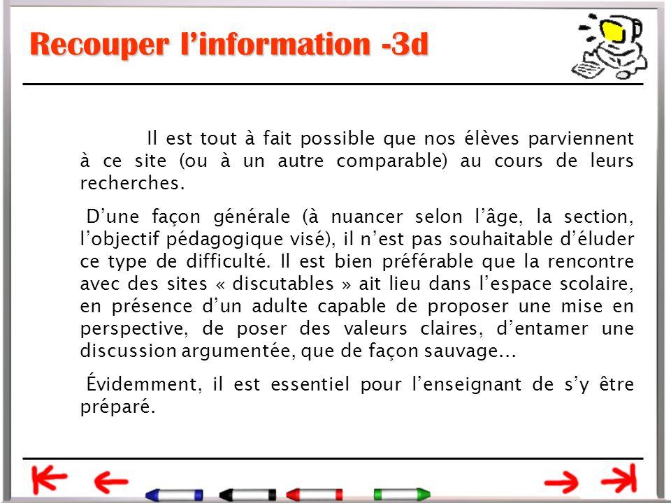 Recouper l'information -3d