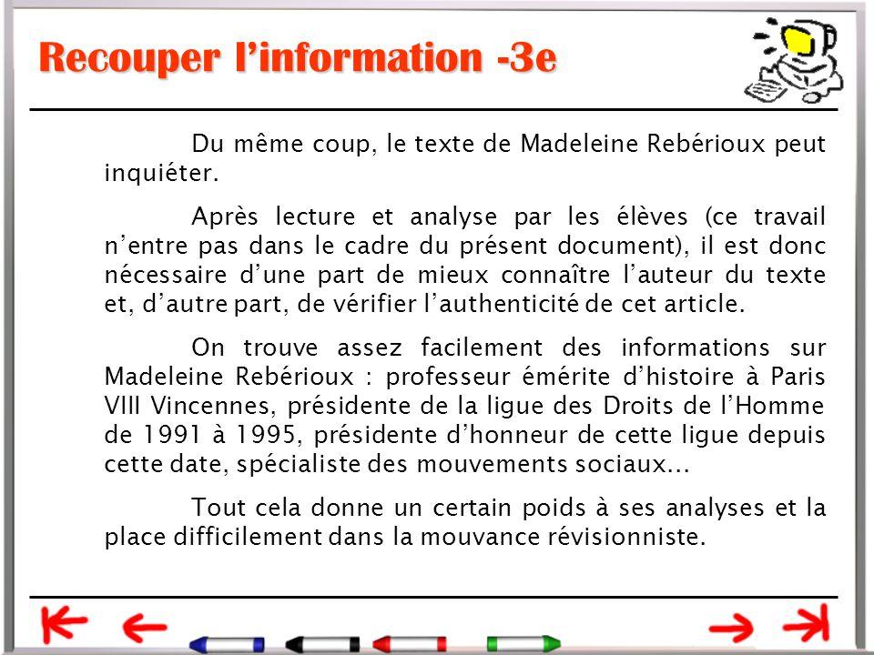 Recouper l'information -3e