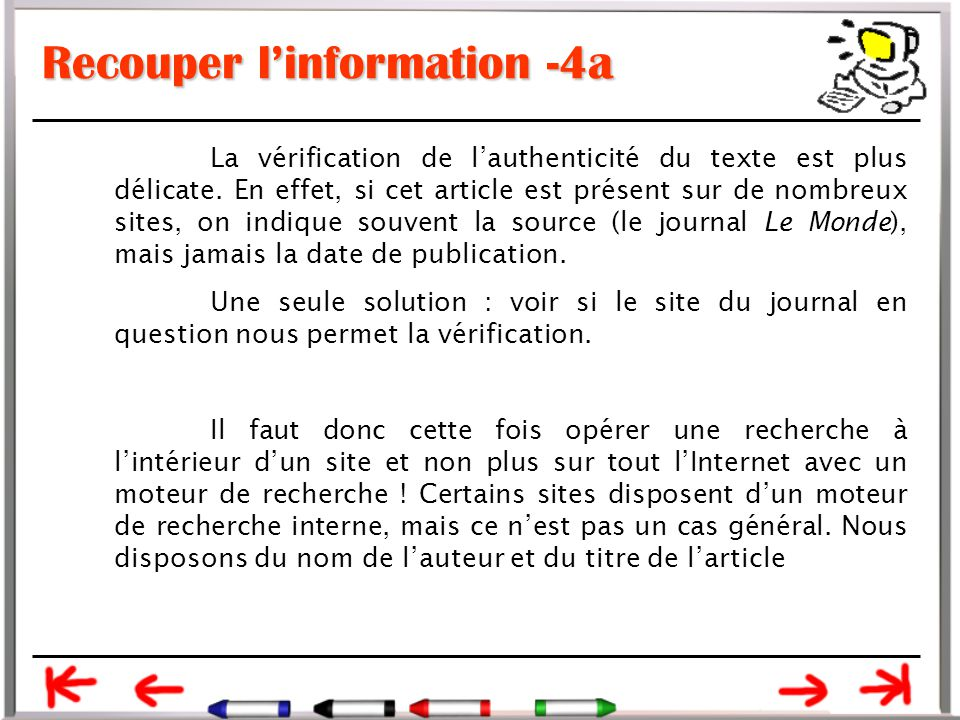 Recouper l'information -4a