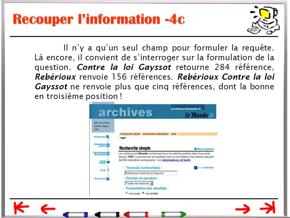 Recouper l'information -4c