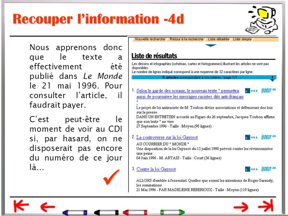 Recouper l'information -4d