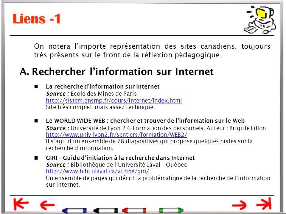 Liens -1 A. Rechercher l'information sur Internet