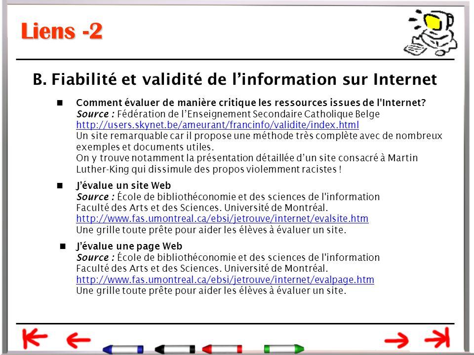 Liens -2 B. Fiabilité et validité de l'information sur Internet