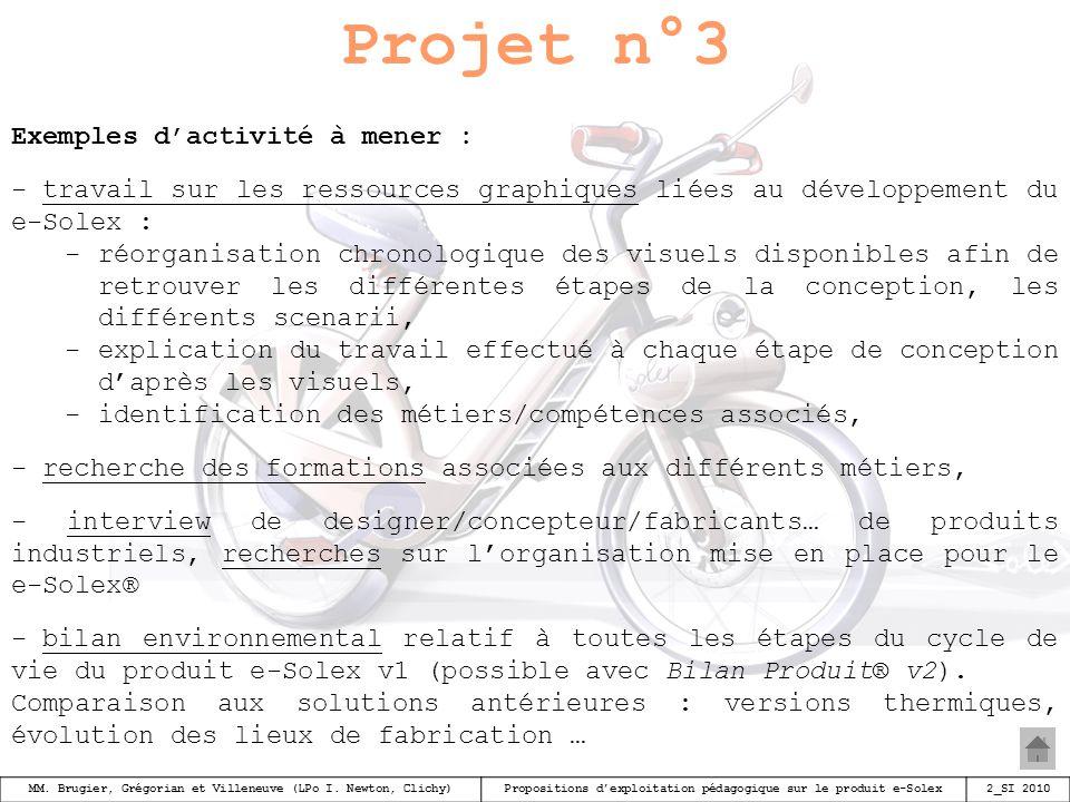 Projet n°3 Exemples d'activité à mener :