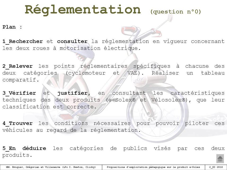 Réglementation (question n°0)