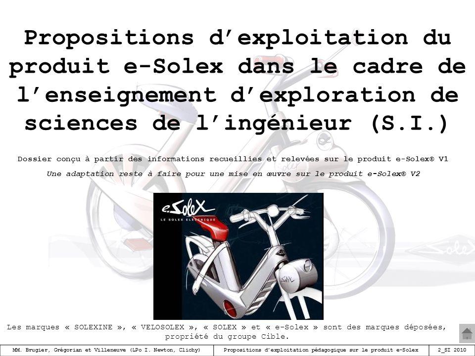 Propositions d'exploitation du produit e-Solex dans le cadre de l'enseignement d'exploration de sciences de l'ingénieur (S.I.)