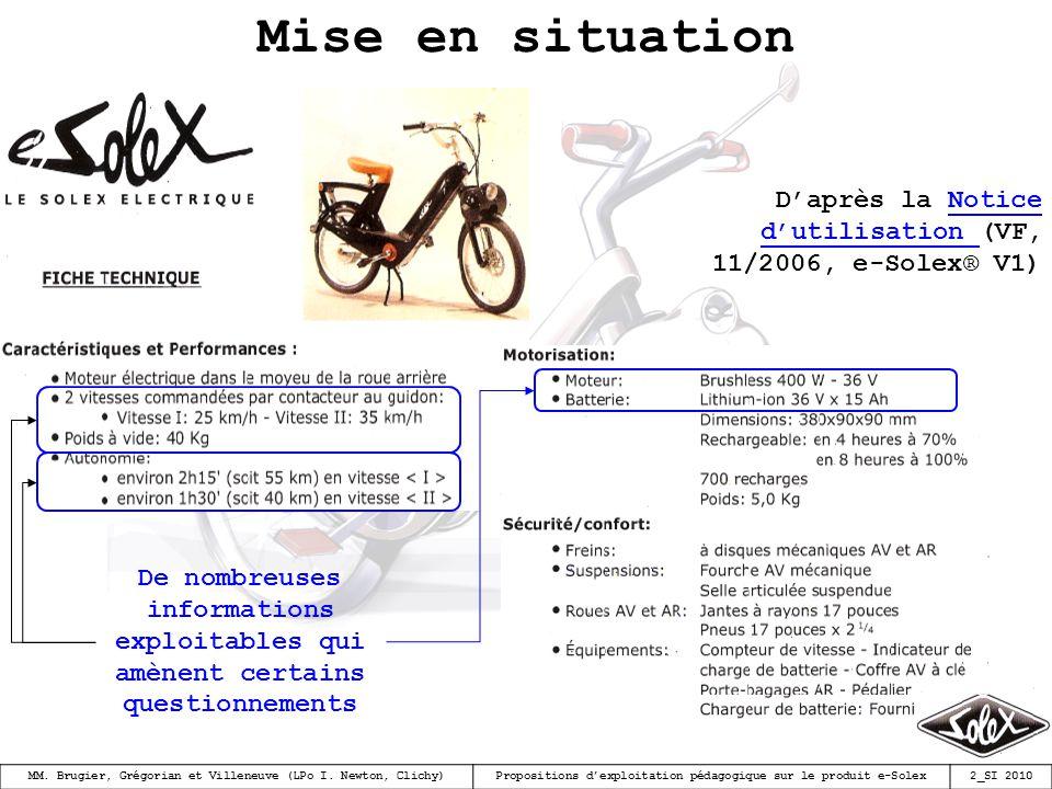 Mise en situation D'après la Notice d'utilisation (VF, 11/2006, e-Solex® V1)