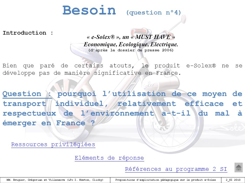 Besoin (question n°4) Introduction : « e-Solex® », un « MUST HAVE » Economique, Ecologique, Electrique.
