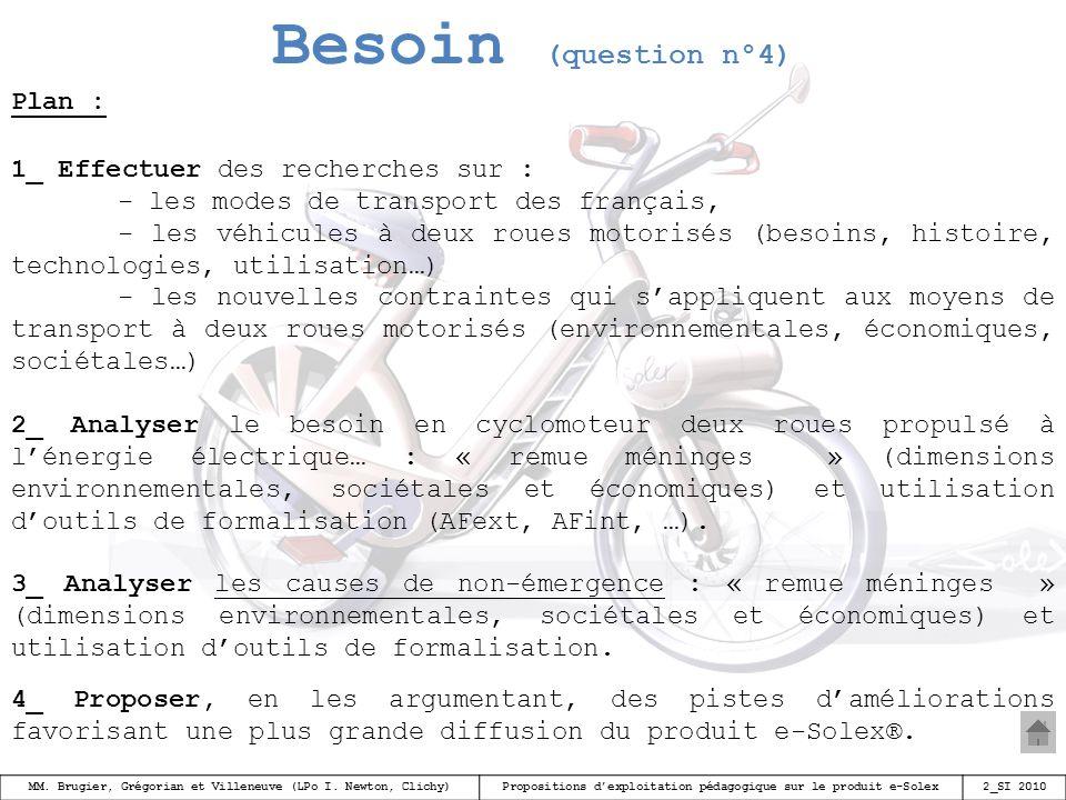 Besoin (question n°4) Plan : 1_ Effectuer des recherches sur :