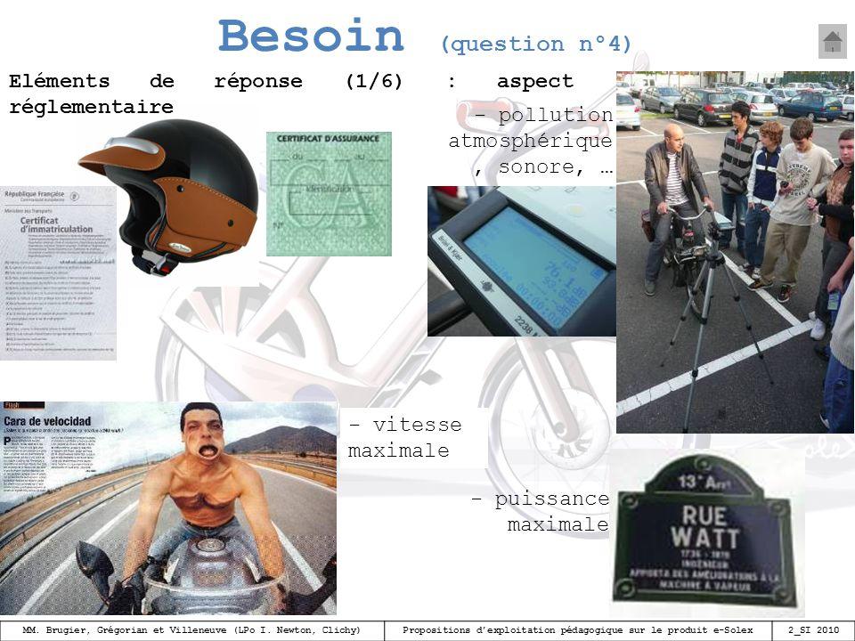 Besoin (question n°4) Eléments de réponse (1/6) : aspect réglementaire