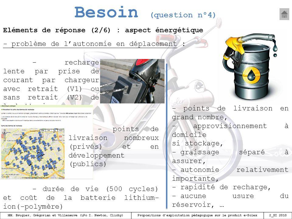 Besoin (question n°4) Eléments de réponse (2/6) : aspect énergétique