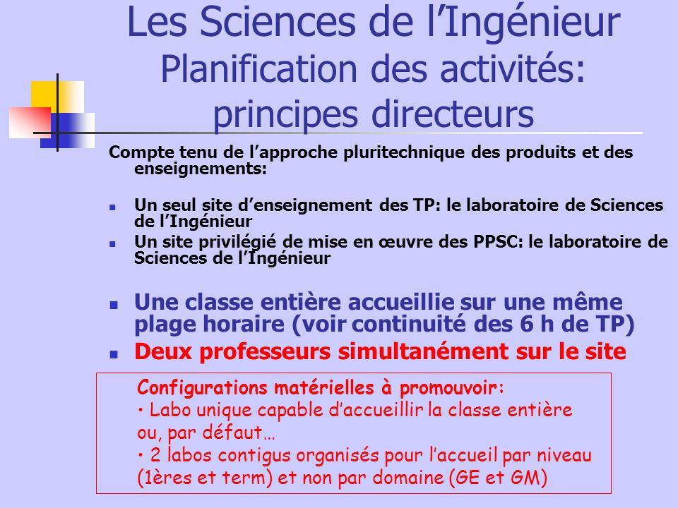 Les Sciences de l'Ingénieur Planification des activités: principes directeurs