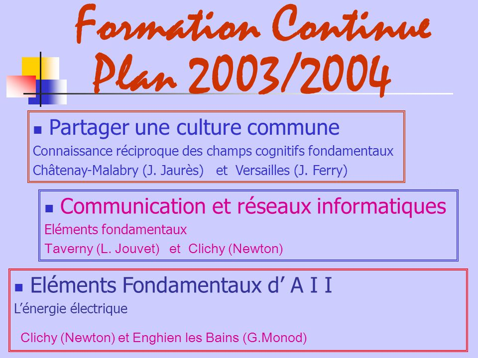 Formation Continue Plan 2003/2004