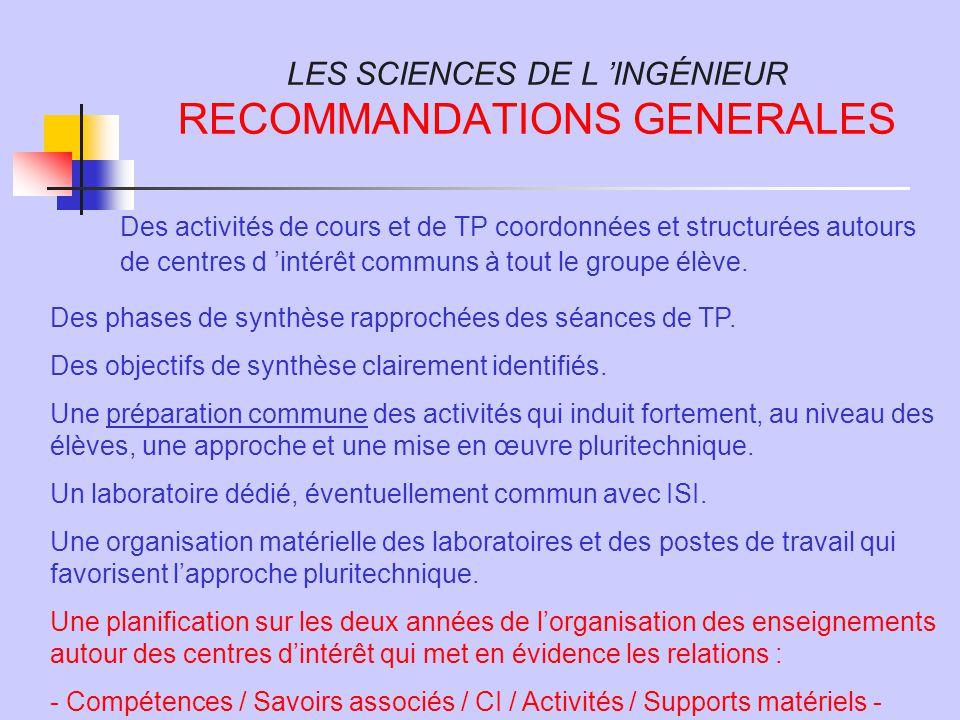 LES SCIENCES DE L 'INGÉNIEUR RECOMMANDATIONS GENERALES