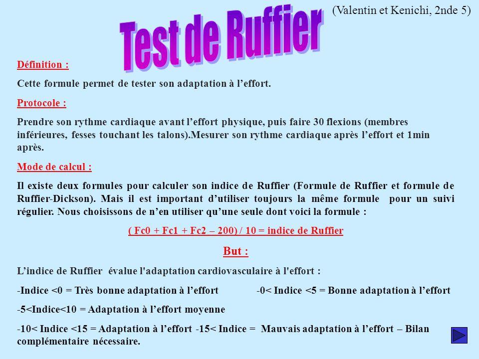 ( Fc0 + Fc1 + Fc2 – 200) / 10 = indice de Ruffier