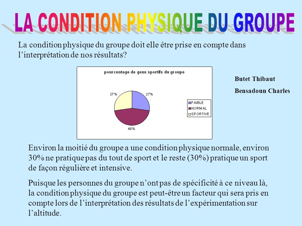 LA CONDITION PHYSIQUE DU GROUPE
