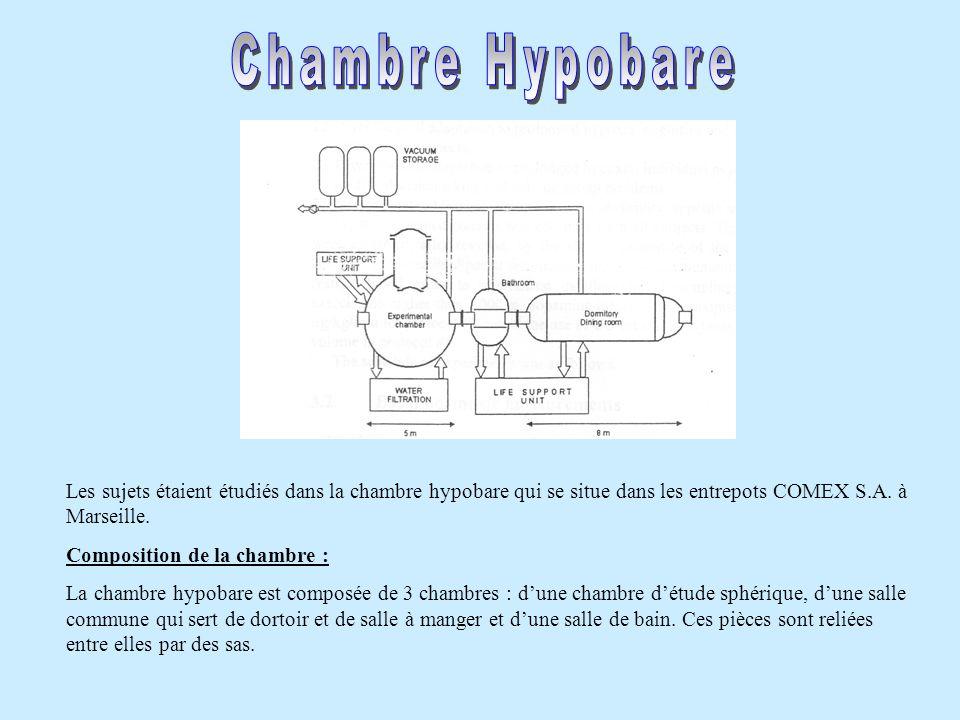 Chambre Hypobare Les sujets étaient étudiés dans la chambre hypobare qui se situe dans les entrepots COMEX S.A. à Marseille.