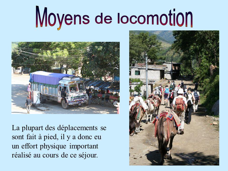 Moyens de locomotion La plupart des déplacements se sont fait à pied, il y a donc eu un effort physique important réalisé au cours de ce séjour.