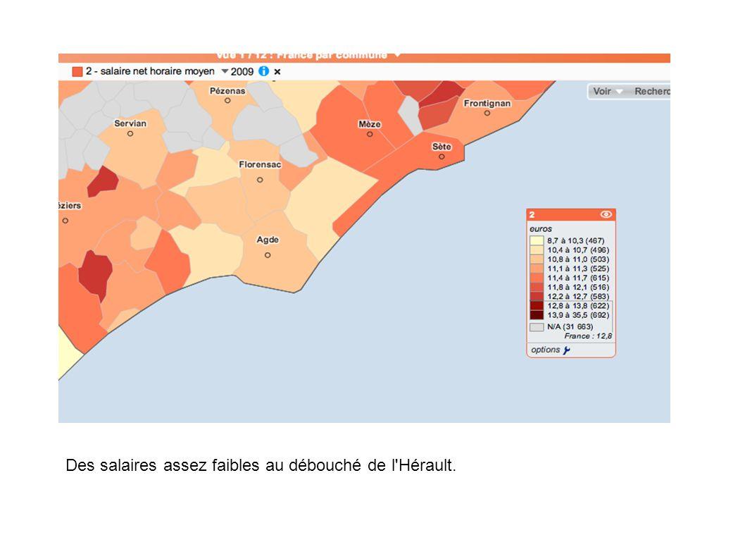 Des salaires assez faibles au débouché de l Hérault.