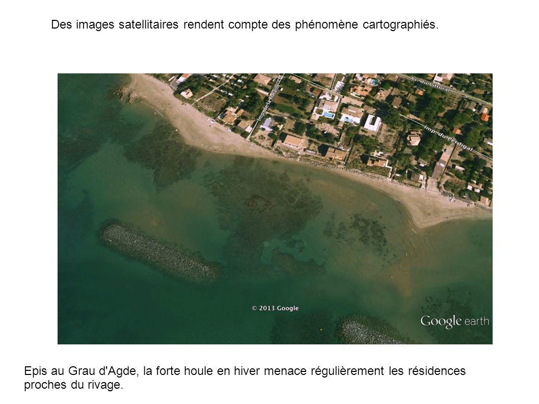 Des images satellitaires rendent compte des phénomène cartographiés.