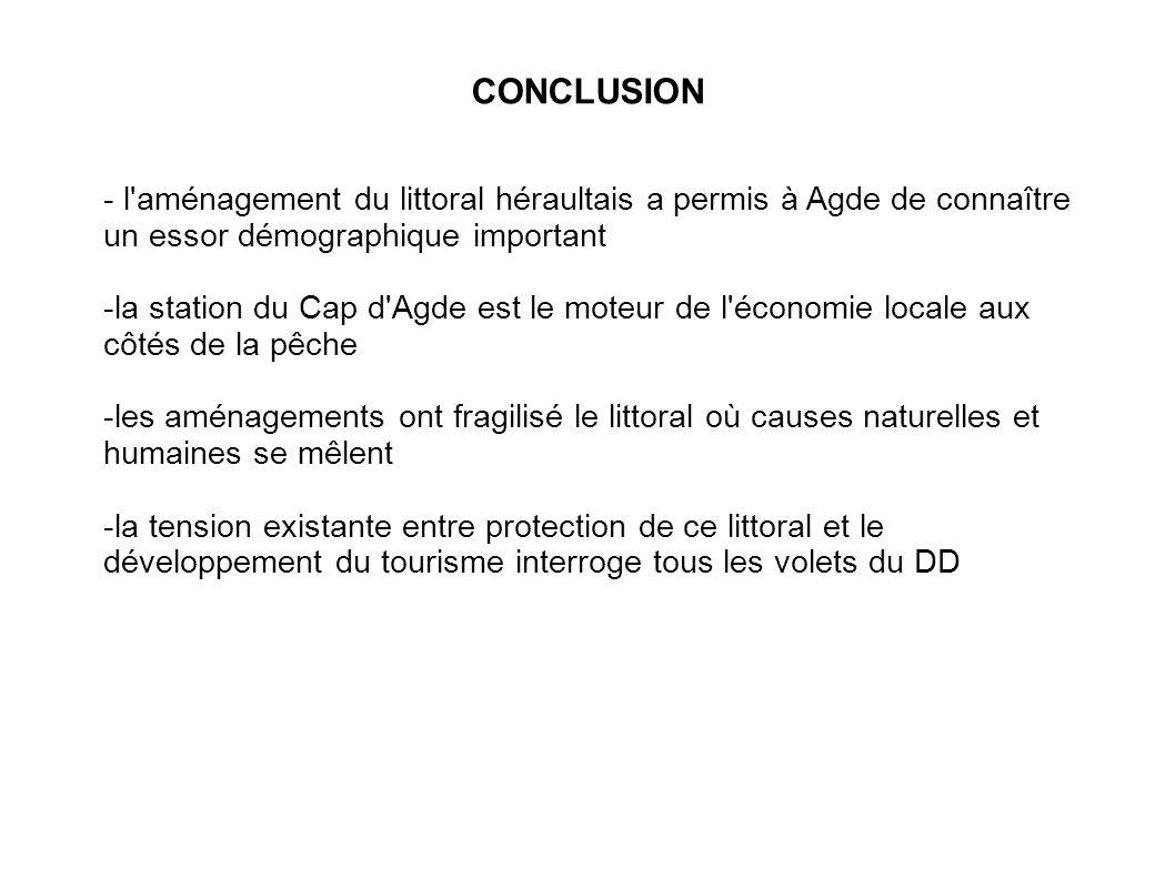 CONCLUSION - l aménagement du littoral héraultais a permis à Agde de connaître un essor démographique important.