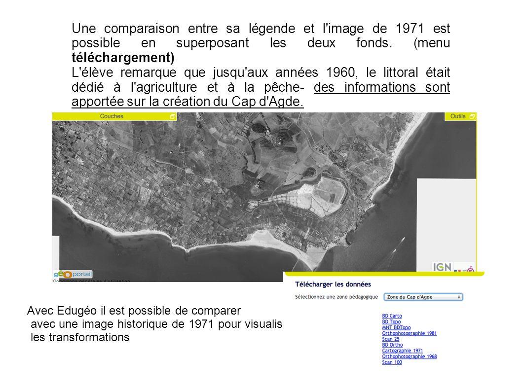 Une comparaison entre sa légende et l image de 1971 est possible en superposant les deux fonds. (menu téléchargement)
