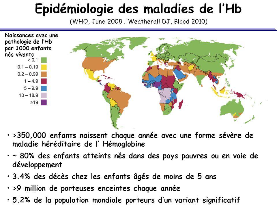 Epidémiologie des maladies de l'Hb