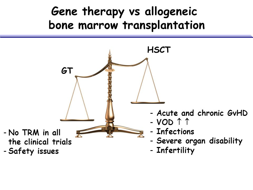 Gene therapy vs allogeneic bone marrow transplantation
