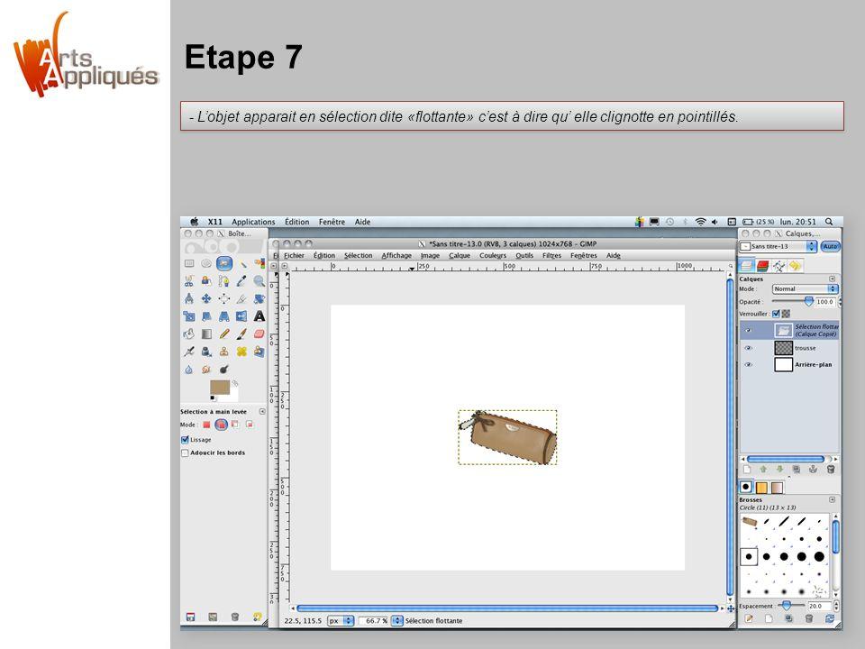 Etape 7 L'objet apparait en sélection dite «flottante» c'est à dire qu' elle clignotte en pointillés.
