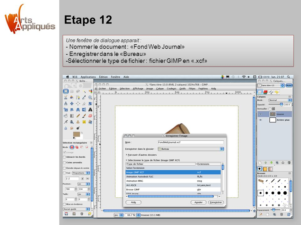 Etape 12 - Nommer le document : «Fond Web Journal»