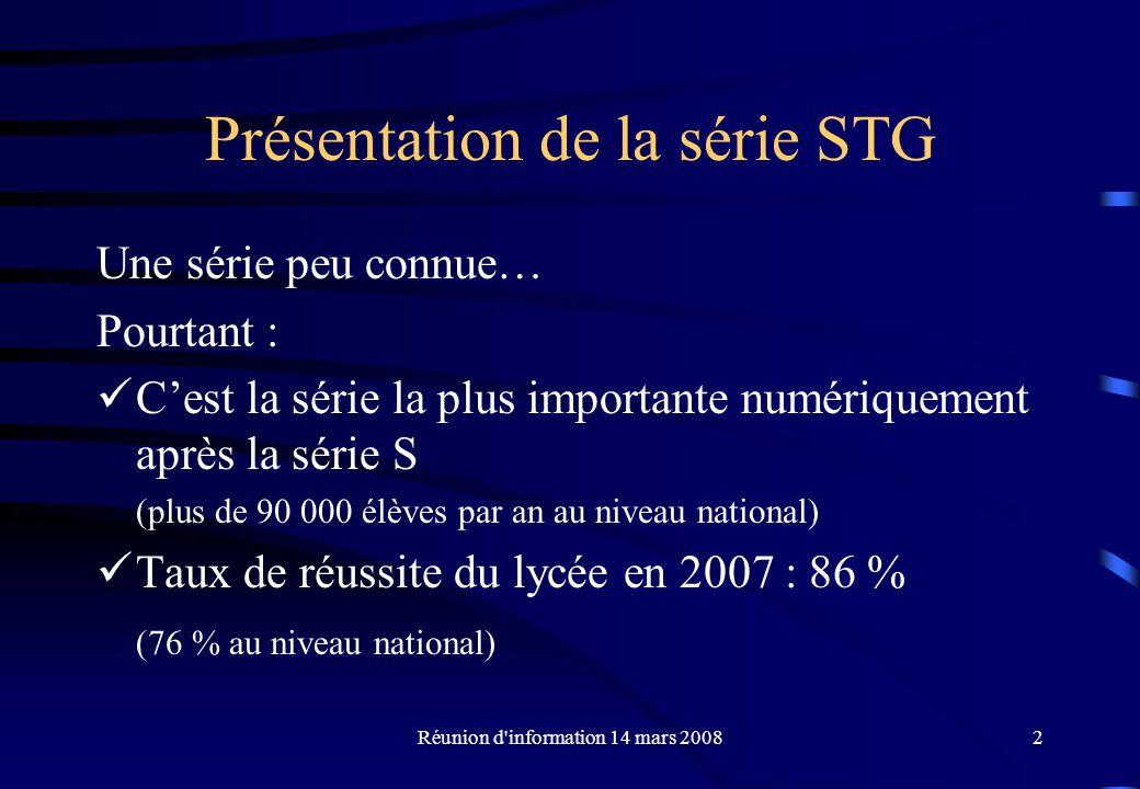 Présentation de la série STG