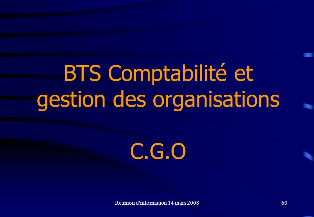 BTS Comptabilité et gestion des organisations C.G.O