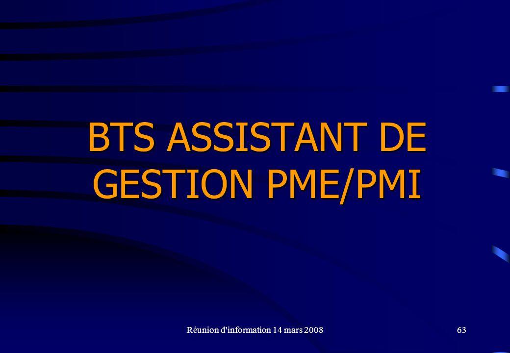 BTS ASSISTANT DE GESTION PME/PMI