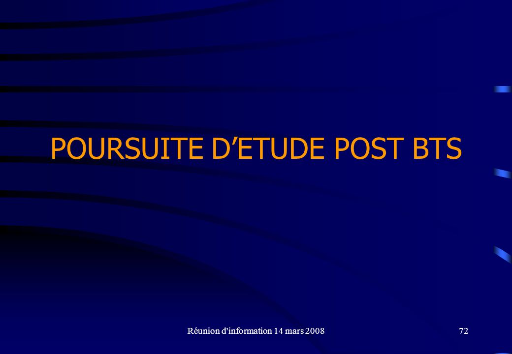 POURSUITE D'ETUDE POST BTS