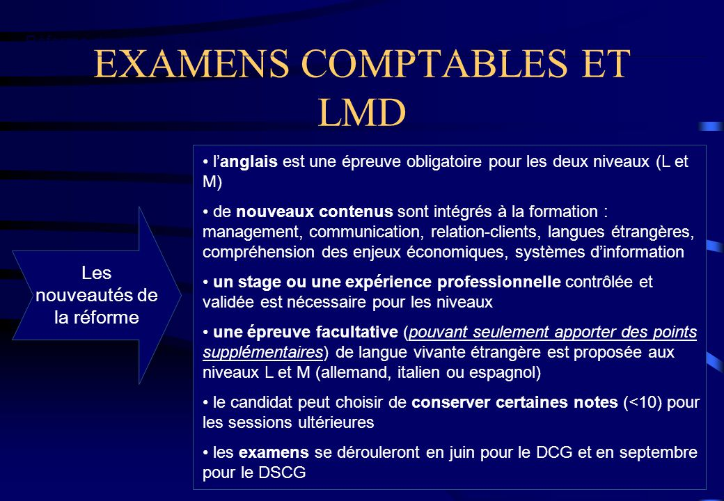EXAMENS COMPTABLES ET LMD