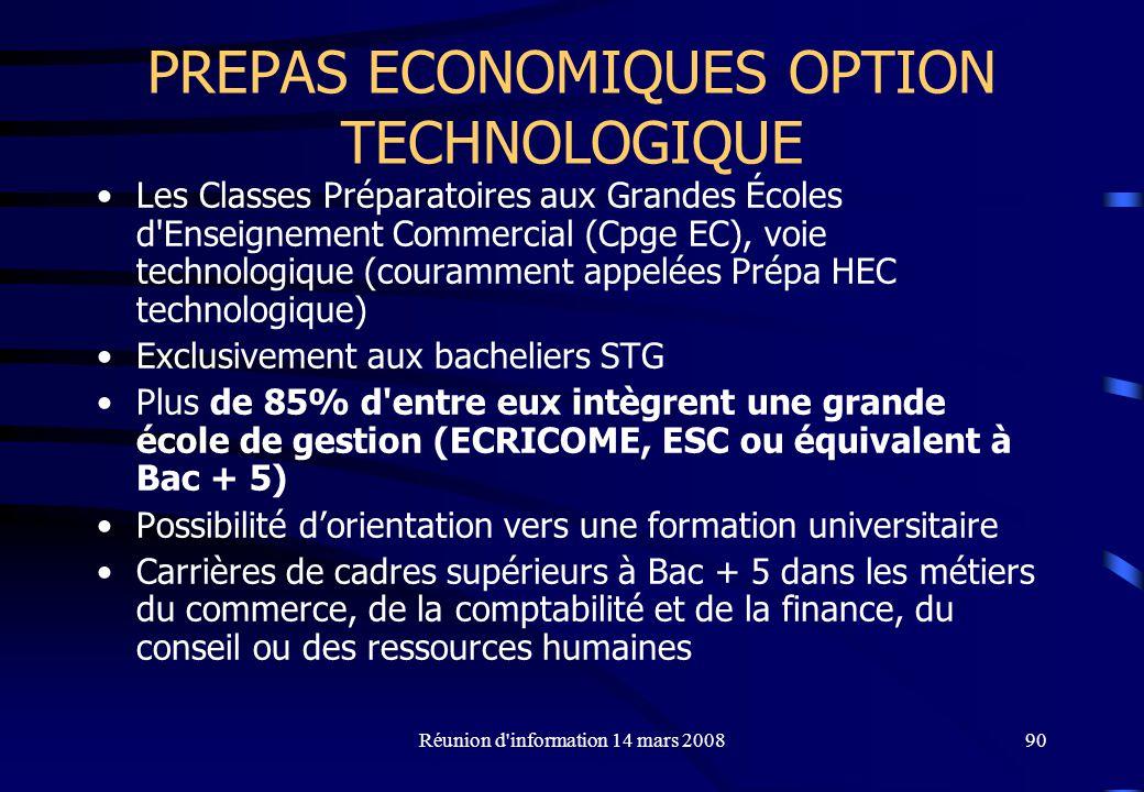 PREPAS ECONOMIQUES OPTION TECHNOLOGIQUE