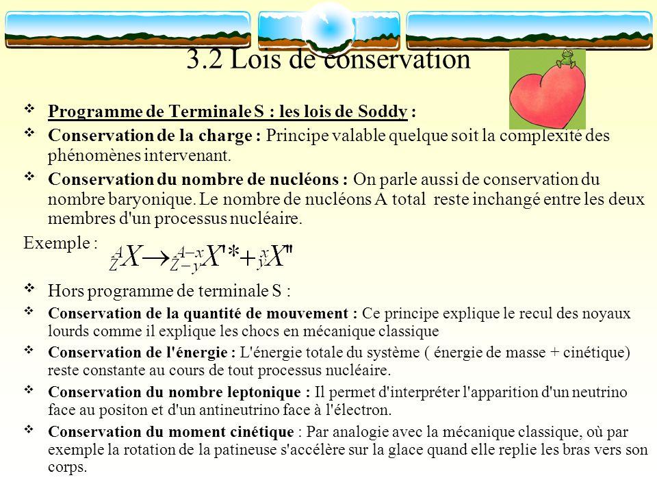 3.2 Lois de conservation Programme de Terminale S : les lois de Soddy :