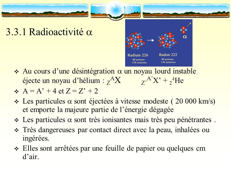 3.3.1 Radioactivité a Au cours d'une désintégration a un noyau lourd instable éjecte un noyau d'hélium : ZAX Z'A'X' + 24He.