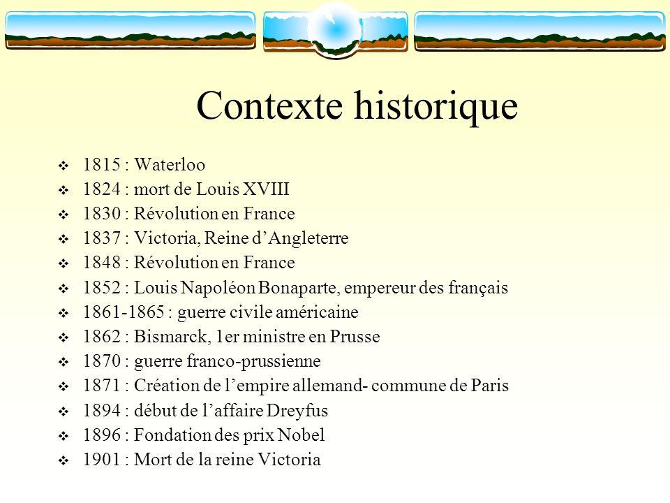 Contexte historique 1815 : Waterloo 1824 : mort de Louis XVIII