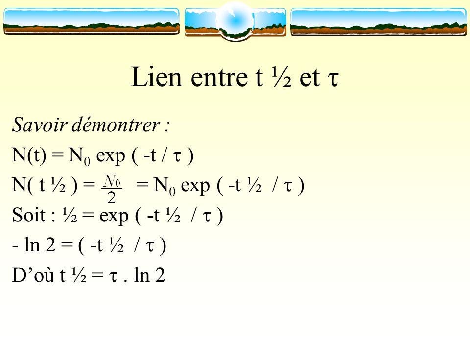 Lien entre t ½ et  Savoir démontrer : N(t) = N0 exp ( -t /  )