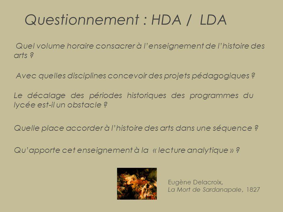Questionnement : HDA / LDA
