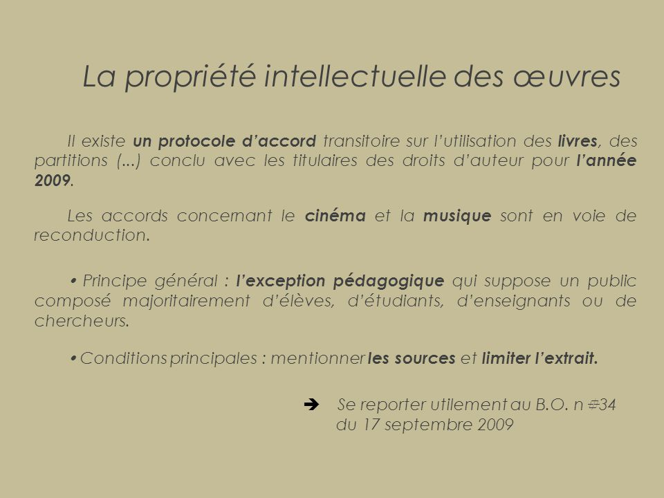 La propriété intellectuelle des œuvres
