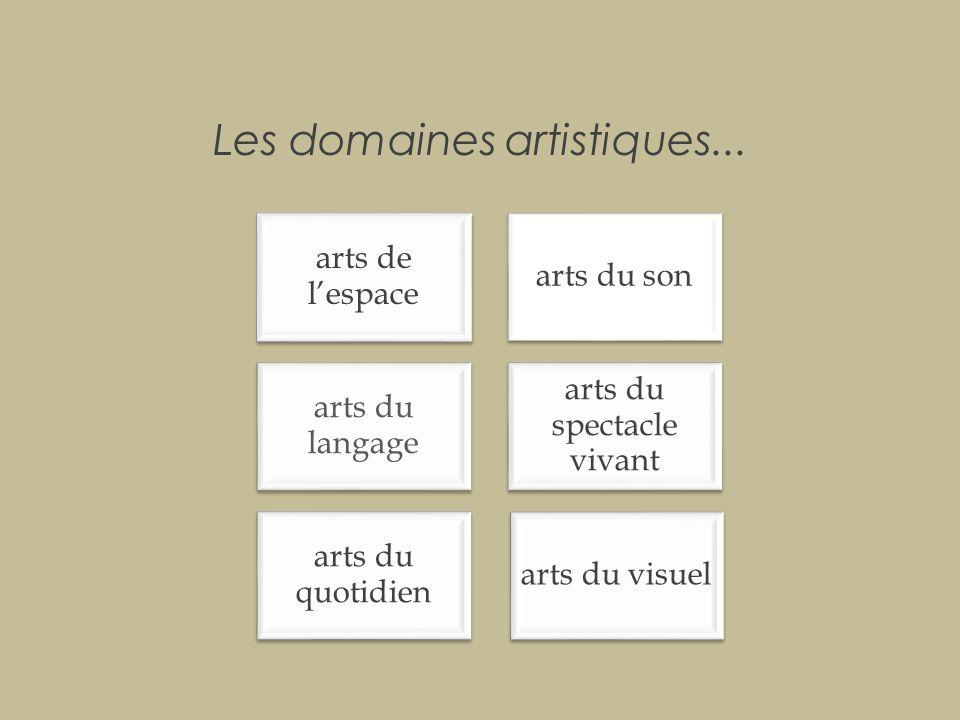 Les domaines artistiques...