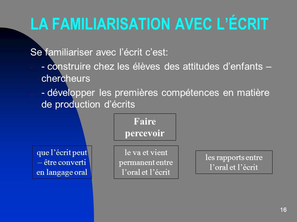LA FAMILIARISATION AVEC L'ÉCRIT