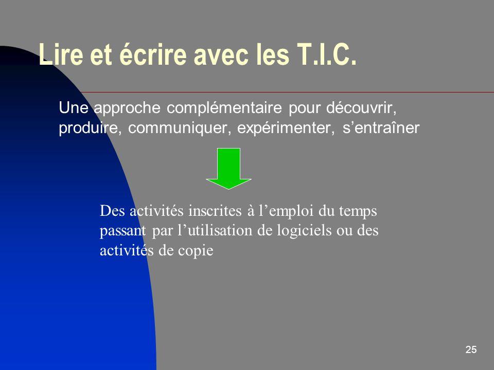 Lire et écrire avec les T.I.C.