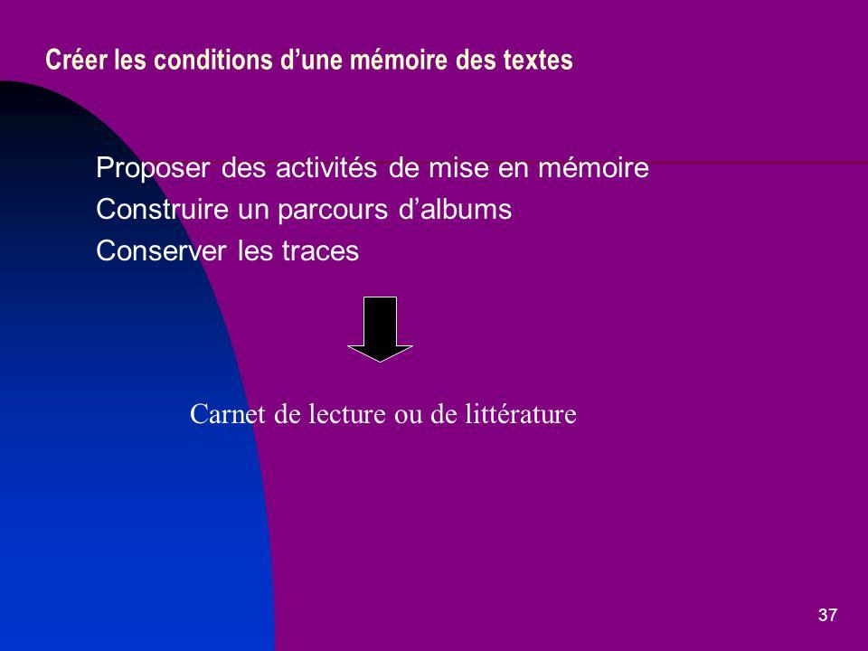 Créer les conditions d'une mémoire des textes