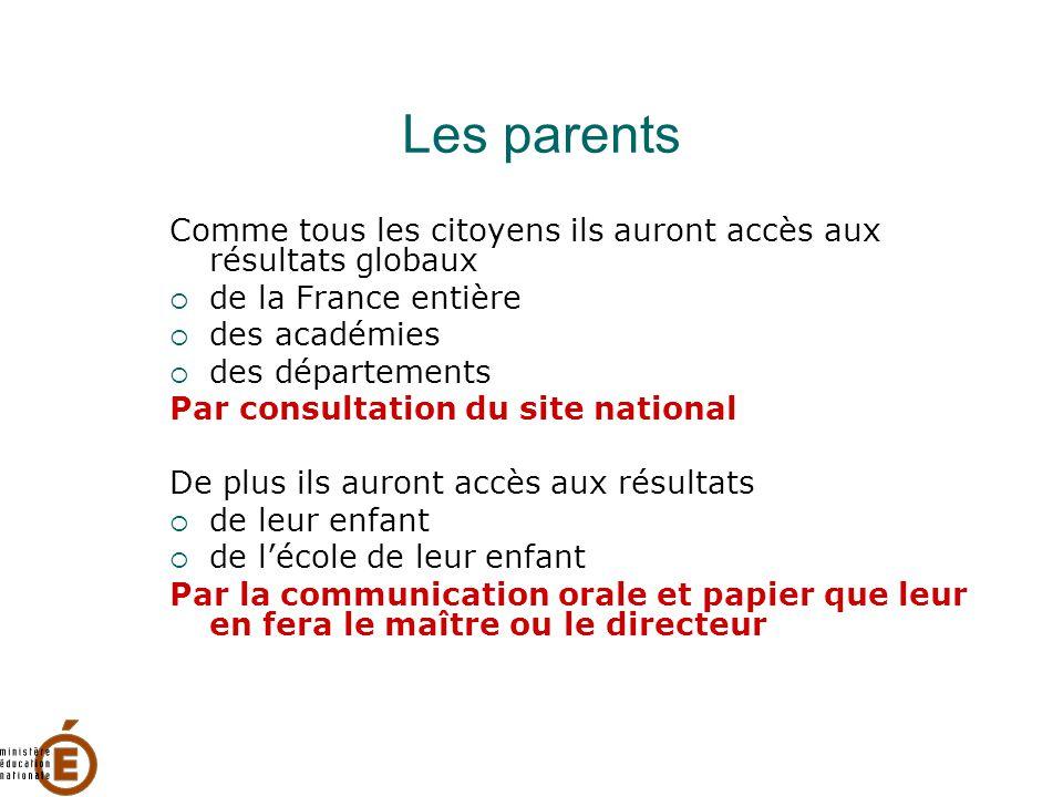 Les parents Comme tous les citoyens ils auront accès aux résultats globaux. de la France entière.